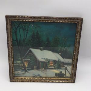 Antique framed snowy cabin woods picture